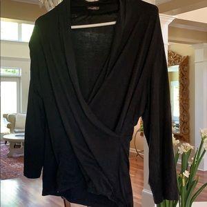 J. Mclaughlin black Silk wrap Top XL